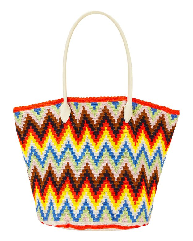 Sophie Anderson Jonas Zig Zag Multi Color Cotton Print Tote