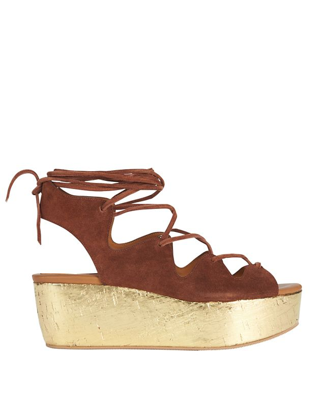 See By Chloé Liana Gold Cork Platform Suede Sandal