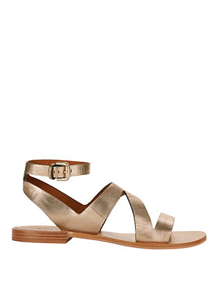 See By Chloe Dania Metallic Leather Cut Out Flat Sandals