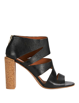 See By Chloe Dania Leather Cut Out Cork Heel Sandals: Black