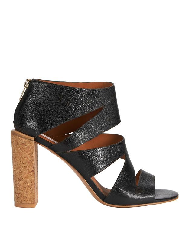 See By Chloé Dania Leather Cut Out Cork Heel Sandals