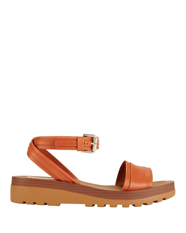 See By Chloe Ankle Wrap Strap Rubber Sole Sandal: Orange