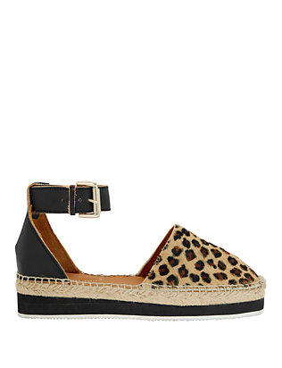 See By Chloe Leopard Print Calfhair Flat Espadrille