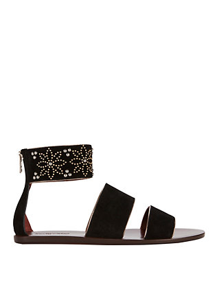 See By Chloe Studded Ankle Cuff Suede Flat Sandal: Black