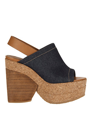 See By Chloe Edith Cork Sole Denim Sling Back
