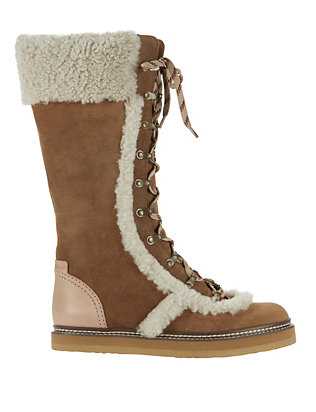 Shearling Lamb Trim Lace-Up Boots