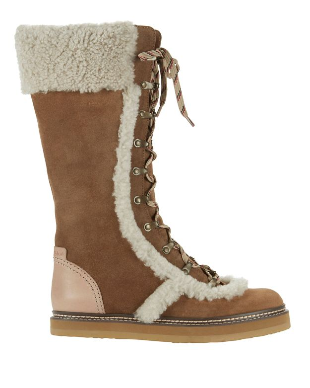 See By Chloé Shearling Lamb Trim Lace-Up Boots