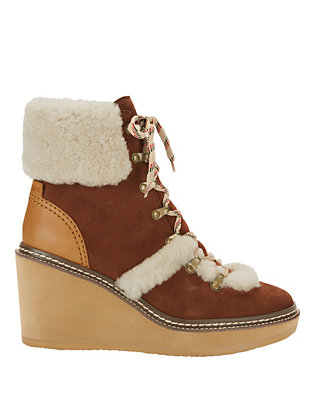 See By Chloe Shearling Lamb Trim Lace-Up Wedge Bootie