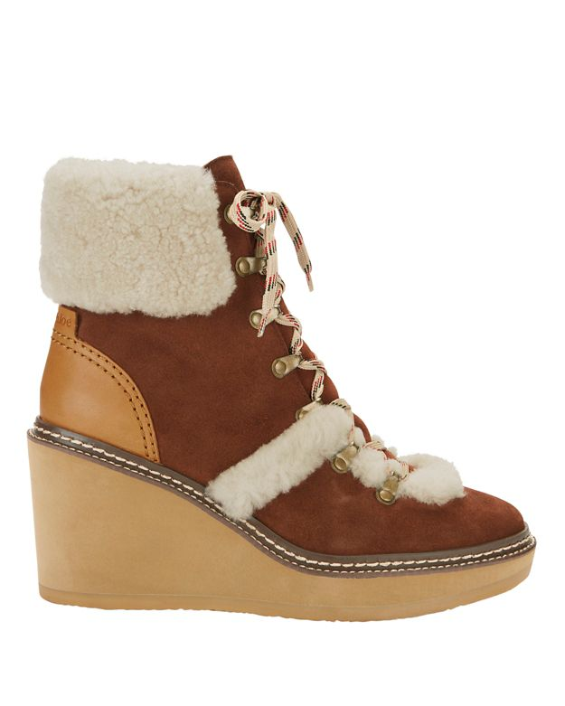See By Chloé Shearling Lamb Trim Lace-Up Wedge Booties