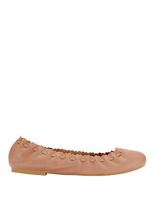 Scalloped Tie Edge Leather Ballet Flats