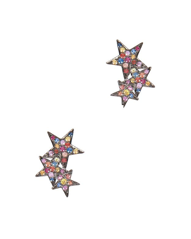 SheBee Multi Sapphire Star Climber Earrings