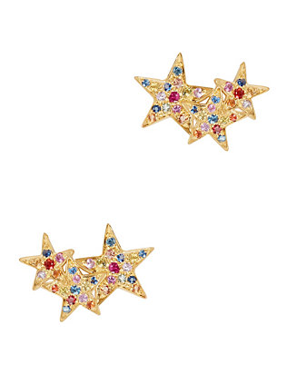 Multi Sapphire Star Climber Gold Earrings