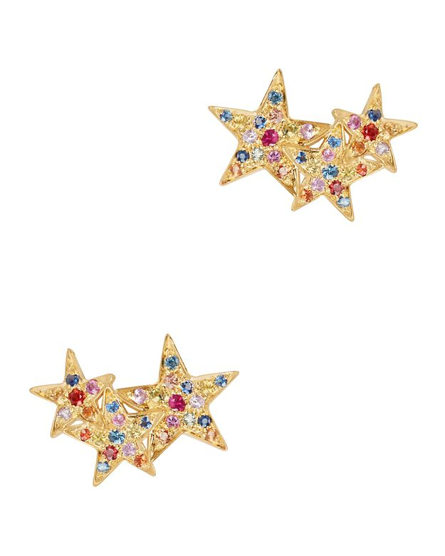 SheBee Multi Sapphire Star Climber Gold Earrings