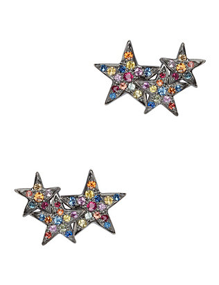 Multi Sapphire Star Climber Earrings