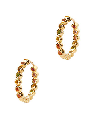Mini Multi Sapphire Gold Hoop Earrings