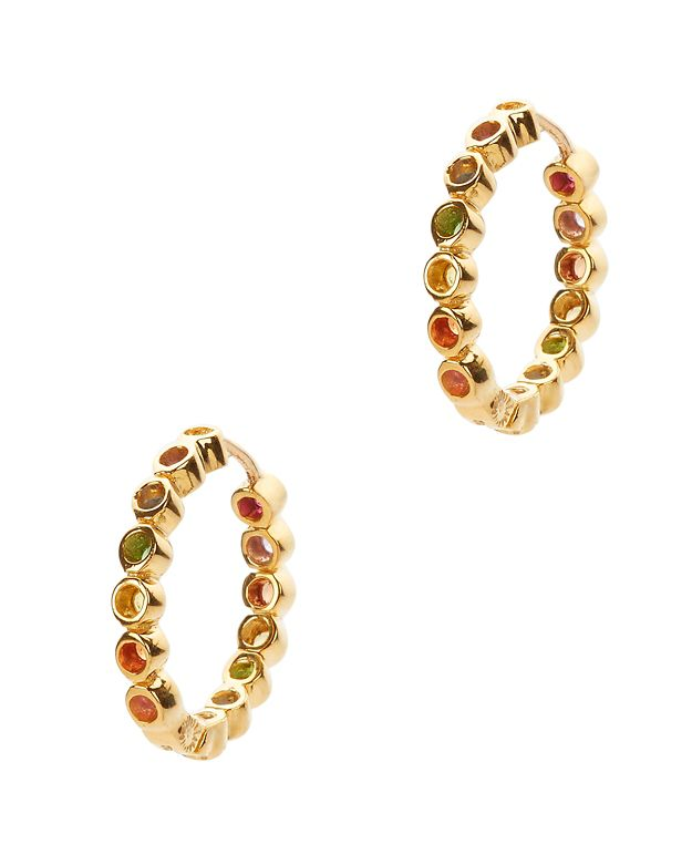 SheBee Mini Multi Sapphire Gold Hoop Earrings