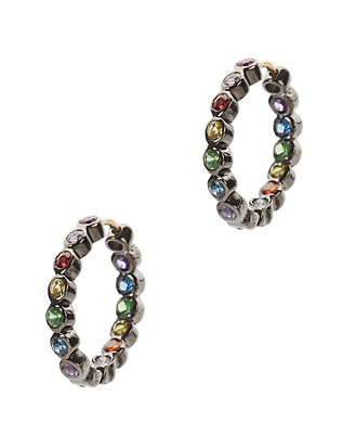 Mini Multi Sapphire Hoop Earrings