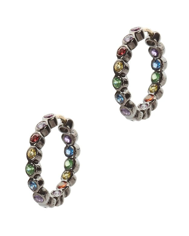 SheBee Mini Multi Sapphire Hoop Earrings