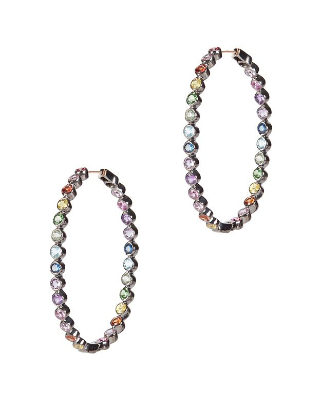 SheBee Multi Sapphire Oval Hoop Earrings
