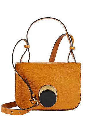 Flap Circle Clasp Leather Crossbody: Mustard