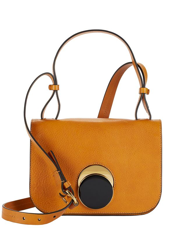 Marni Flap Circle Clasp Leather Crossbody: Mustard