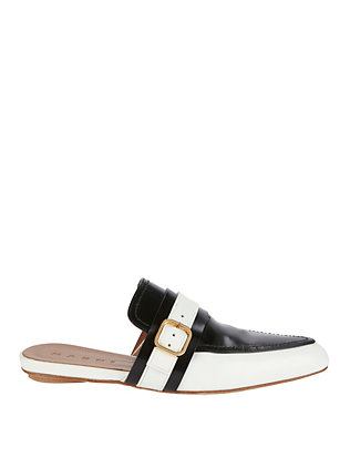 Gold-Tone Buckle Slide Loafer Flats