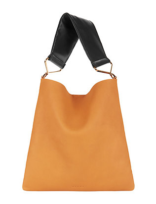 Contrast Soft Handle Leather Shoulder Bag: Mustard