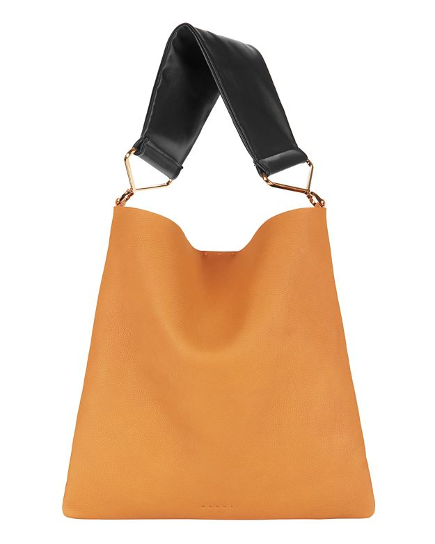 Marni Contrast Soft Handle Leather Shoulder Bag: Mustard