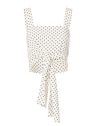 Alexis Sena Dot Tie-Front Crop Top