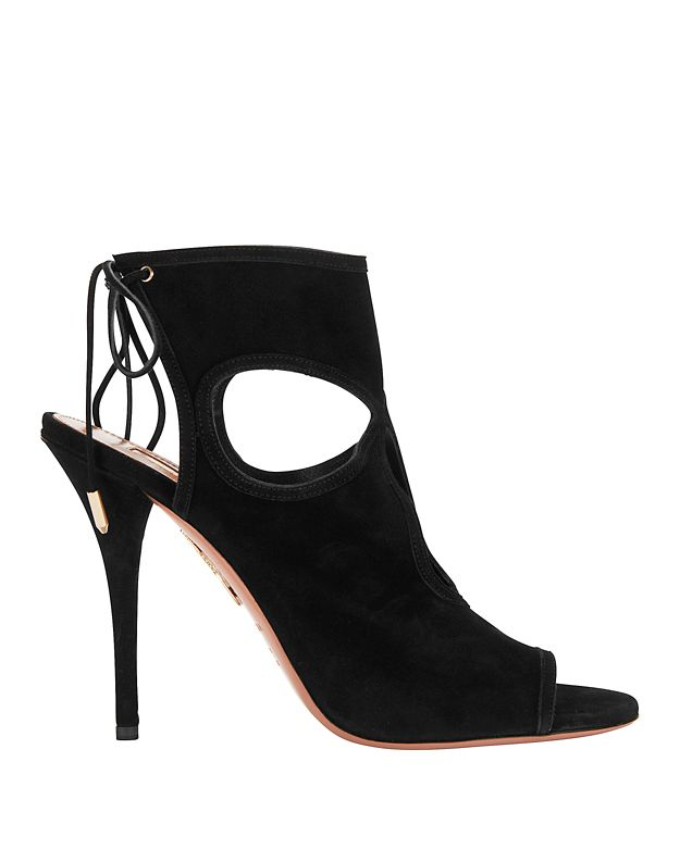 Aquazzura Sexy Thing Black Cutout Suede Sandals