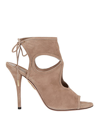 Aquazzura Sexy Thing Cutout Beige Suede Sandals