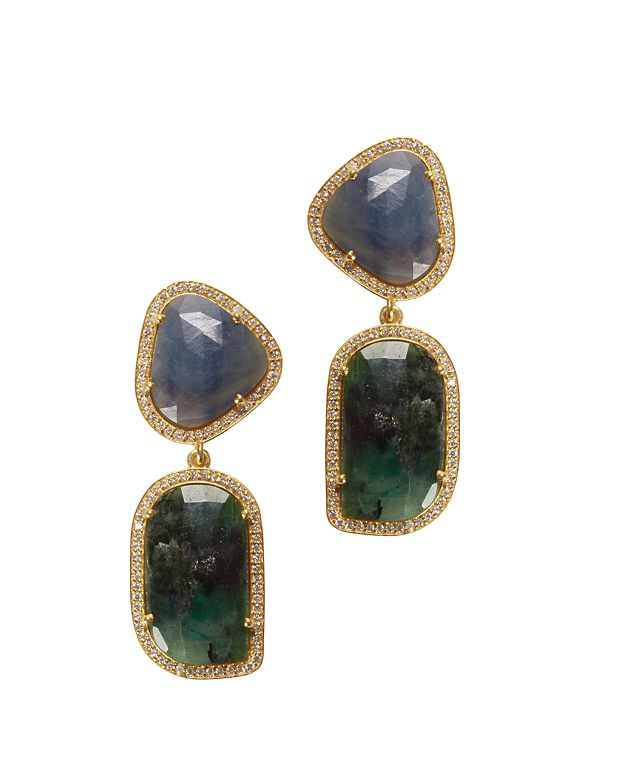 Susan Hanover Sapphire Splice Earrings: Blue/Green
