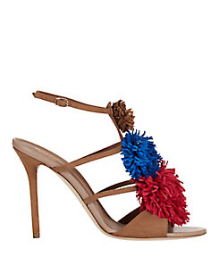 Malone Souliers Sherry Tri-color Suede Pom Sandal