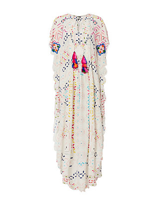 Pleated Embroidered Silk Long Caftan