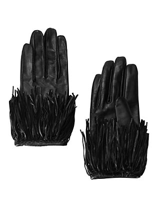 Exclusive for Intermix Fringe Leather Gloves: Black