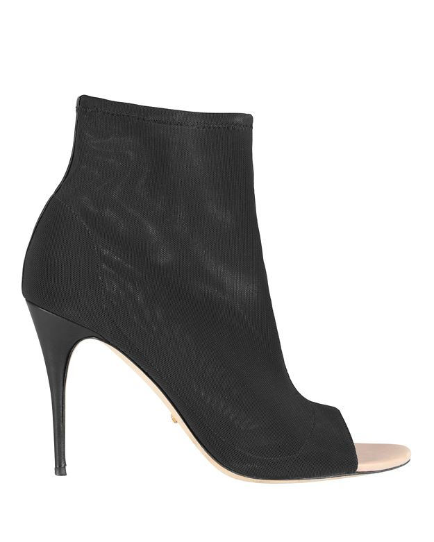 Jerome C. Rousseau Skin Tight Stretch Mesh Open Toe Booties: Black