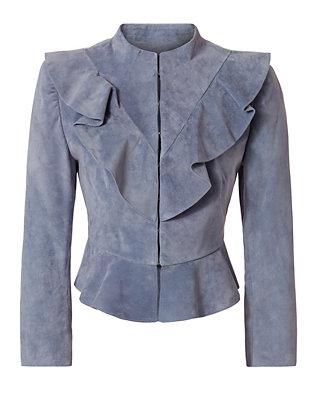 Benton Suede Ruffle Jacket
