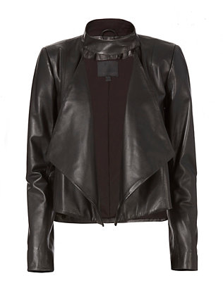 Cropped Drape Front Leather Jacket