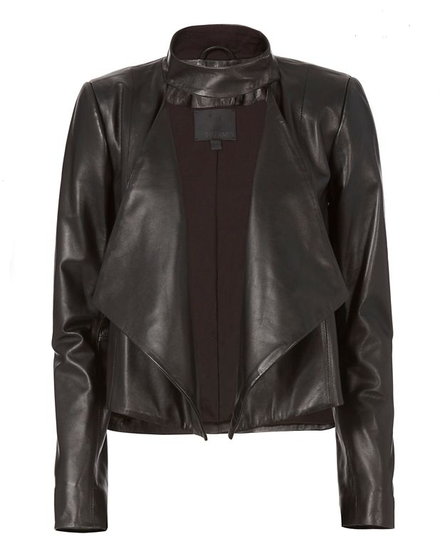 Exclusive for Intermix Cropped Drape Front Leather Jacket
