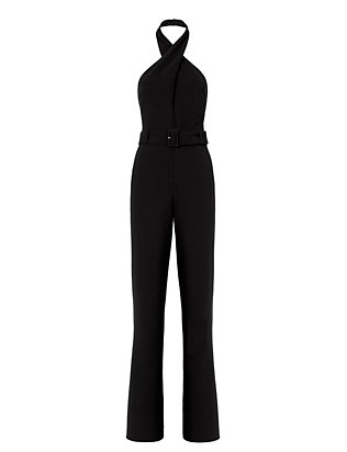 Exclusive for Intermix Motobi Halter Jumpsuit: Black