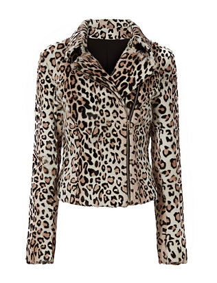 Exclusive for Intermix Aja Leopard Pattern Goat Hair Jacket