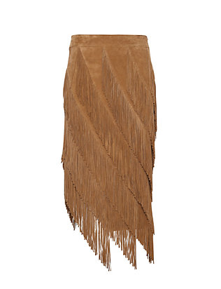 Exclusive for Intermix Goat Suede Layered Fringe Skirt