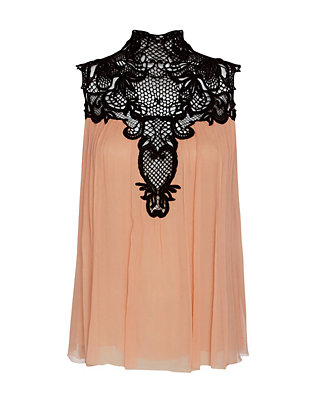 Exclusive for Intermix Lace Neck Trim Pleated Top