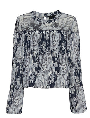 Exclusive for Intermix Charlotte Pleated Floral Blouse