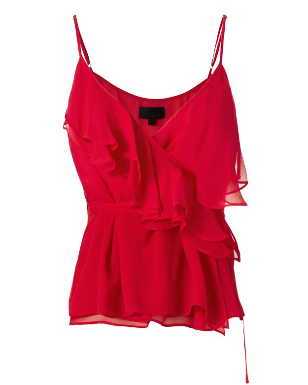 Exclusive for Intermix Lola Silk Wrap Blouse: Red