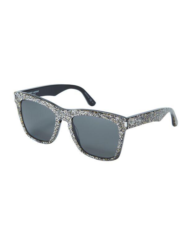 Saint Laurent Devon Glittered Acetate Rectangular Sunglasses, Silver