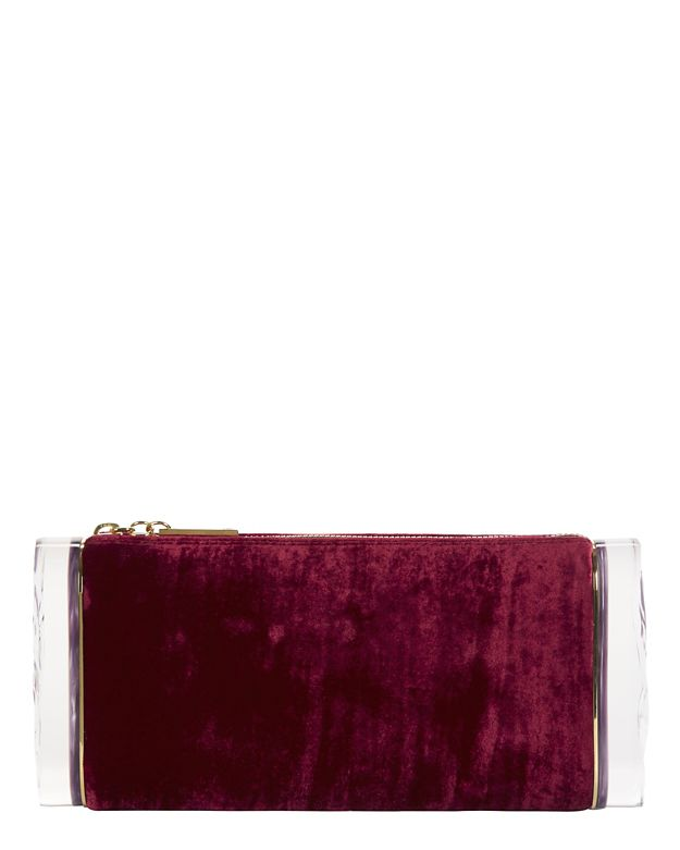 Edie Parker Lara Crushed Velvet Ice Ends Clutch