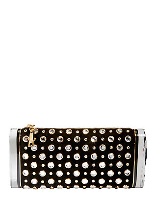 Lara Studded Soft Suede Clutch