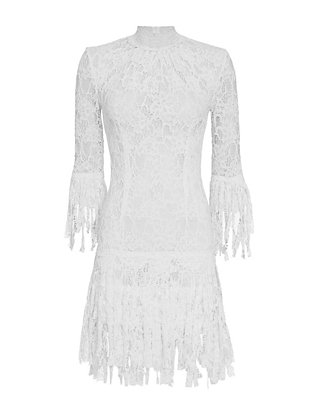 Alexis Sonia Frayed Fringe High Neck Lace Dress