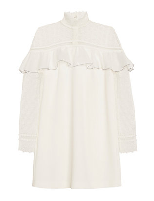 Ruffled Lace Mini Dress: White